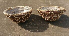 2 Rattan Styled Hanging Baskets / Flower Planters Garden Decoration