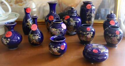 VASES JARS - JAPANESE BLUE GOLD EMBOSSED Warriewood Pittwater Area Preview