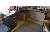 Black Sturdy Corner Desk with drawers