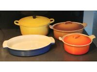 Various vintage Le Creuset Casserole / Gratin Dishes