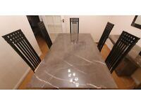 Marble Dining table + 6 Dolcevite Italian chairs