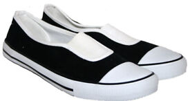 New Ladies Black and White Flat Espadrilles Pumps Plimsolls Loafers Deck Boat Shoes.Size 4