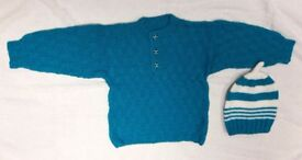 New Hand Knitted Baby Boy Jumper with Hat set 6-24 months
