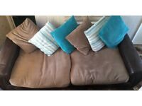 4 Seater Brown Sofa - SCS - leather arms - free