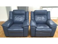 2 ELECTRIC RECLINING ARMCHAIRS in Airforce Blue. 8 months old.