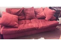 LARGE RED 3 SEATER SOFA