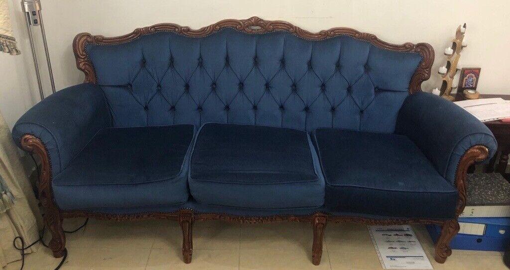 Cabriole Sofa Blue Velvet Like Fabric