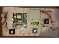 Job Lot of PC parts - Motherboard, PSU, Fans, Floppy Drive, Network Card etc.