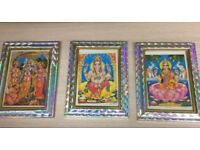 A set of three vintage Indian kitch pictures of deities