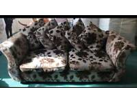 3 seater fabric sofa and foot stool from DFS