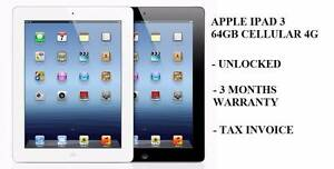 Used Apple iPad 3 64gb Cellular 4g 9/10 Condition with Tax invoic Reservoir Darebin Area Preview