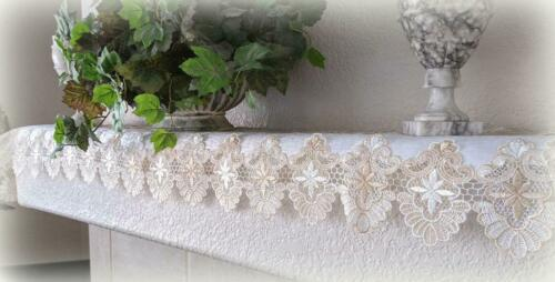 "Dresser Scarf Lace Mantel Runner 67""x12""  Doily Neutral Beige Tan Antique White"