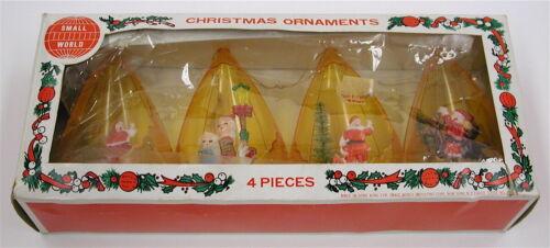 Vintage Plastic Christmas Ornaments Teardrop Diorama Santa Reindeer Carolers