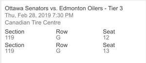 Ottawa senators vs Edmonton tickets