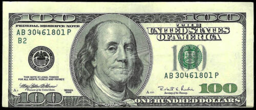 1996 ERROR OFF CENTER PRINTING $100 DOLLAR FEDERAL RESERVE BANK NOTE