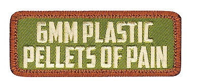 6mm Plastic Pellets of Pain Airsoft Olive Drab Morale Velcro Patch w/ Hook Back