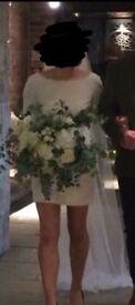 Rime Arodaky Parisian Wedding Dress 'miss jagger' size 8 short, Ivory, zip back, lace sleeves