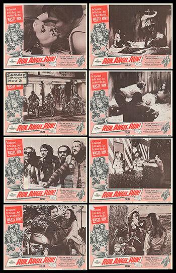 RUN ANGEL RUN original 1969 movie lobby card set WILLIAM SMITH/HARLEY DAVIDSON