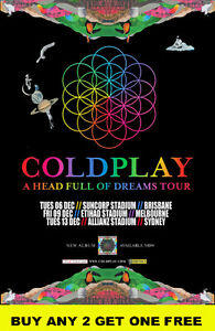 COLDPLAY  2016 'A Head Full Of Dreams' Australian Laminated Tour Poster