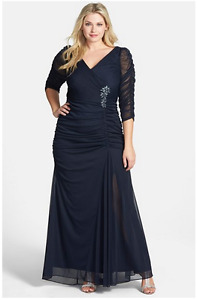 Adrianna Papell Beaded Mesh Gown (Plus)