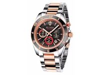 NEW GENTS ZEITNER SPORTS CHRONOGRAPH WATCH, ROSE GOLD WITH BLACK FACE WILLING TO POST