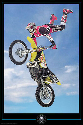 Motocross Dirt Bike Flying Jump Through Blue Sky 24x36 Poster Print