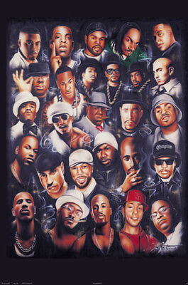 Rap Legends 24x36 Poster Best Rappers 2pac Biggie Nas Andre Eminem Ice Snoop E40