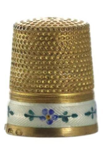 Antique Silver Gilt & White Guilloche Enamel Thimble KARL HOLZER Austria c1900