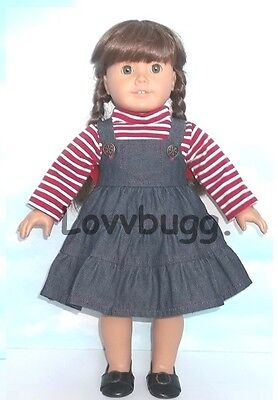 "Lovvbugg Candy Cane n Denim Jumper Set for 18"" American Girl Doll Clothes"