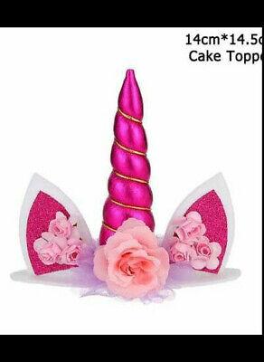 Happy Birthday Einhorn unicorn Topper fuchsia Geburtstag Cupcake Torte Nr 102