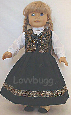 "Lovvbugg Swedish Dirndl Clothes for 18"" American Girl Doll Kirsten Dress Clothes"