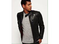 Superdry IDRIS Leading Leather Jacket Size M