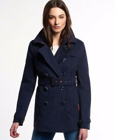 Superdry Short Belle Trench in Navy Medium - Light Use