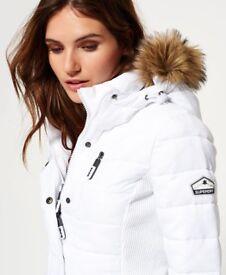 Superdry Slim Padded Jacket - Fur Hood - Small 8/10 - White - New