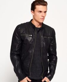 Superdry Real Hero Leather Biker Jacket, Size Large, Almost New, RRP £199.99
