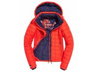 Brand New Womens Super dry Hooded Jacket Bright Red Small
