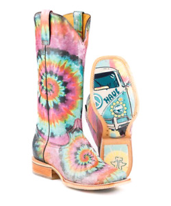 Pink Groovy Leather Cowboy Boot - Women Tin Haul - Size 7.5