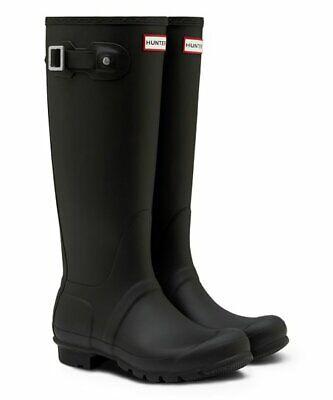 HUNTER Women's Original Classic Tall Rain Boots Waterproof Size 8 - Black