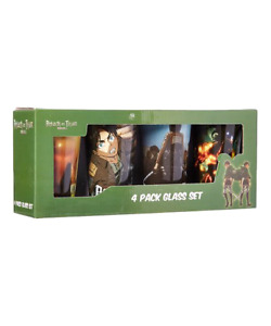 Attack on Titan Anime 4pk glass set