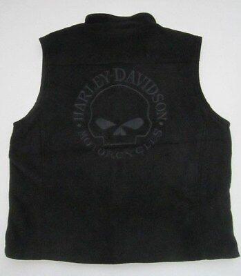Mens Harley Davidson Willie G Skull black fleece full zip embroidered vest