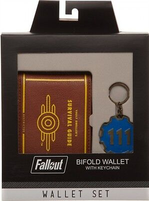 Fallout Vault 111 Gift Box Set Bifold Wallet and Keychain, New