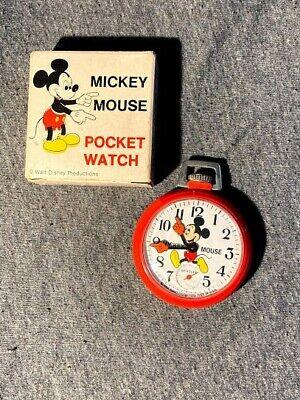 Vintage Bradley Walt Disney Mickey Mouse Red Pocket Watch Sub Dial USA ~WORKS~