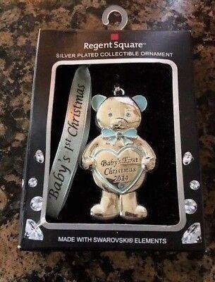 NEW~ REGENT SQUARE 2014 Baby's BOY 1st Christmas Swarovski Crystal Ornament (Baby Bear Ornament)