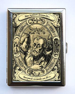 Memento Mori dying man Cigarette Case Business Card Holder goth devil angel ()