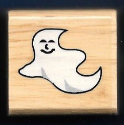 GHOST HAPPY SMILE HALLOWEEN HOLIDAY GIFT Tag Craft Wood SMALL RUBBER STAMP ](Small Halloween Gift Tags)