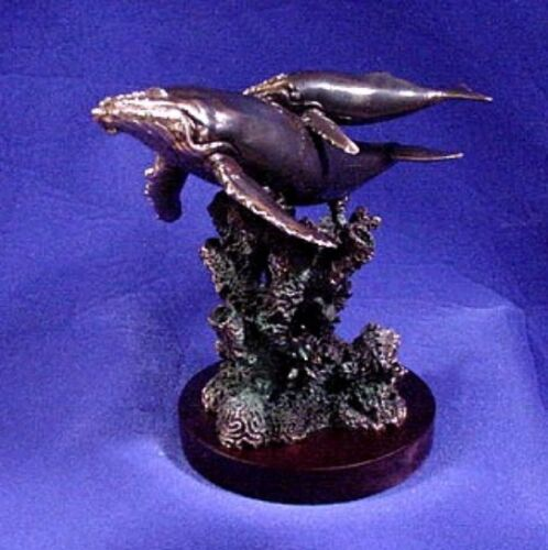 Sperm Whale & Pup ~ Antique Bronze Metal Finish  ~ Figurine ~ Statue
