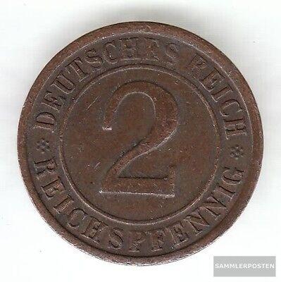 Deutsches Reich Jägernr: 314 1924 F sehr schön Bronze 1924 2 Reichspfennig Ähren