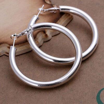 Creolen Ohrringe 925  Silber Ohrschmuck runde große Kreolen 5x5cm