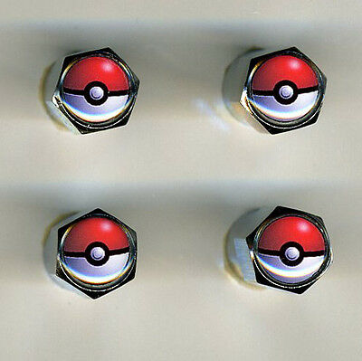 Pokemon 4 Chrome Plated Brass Tire Valve Caps Car/Bike Featuring Pokemon - Pokemon Plates