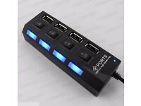 4 Ports USB 2.0 Power On/Off Switch LED Hub Adapters for PC Laptop Notebook